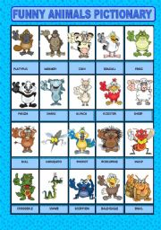 English Worksheets: Funny animals pictionary