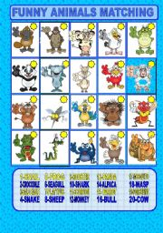 English Worksheets: Funny animals matching