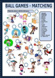English Worksheet: BALL GAMES - MATCHING