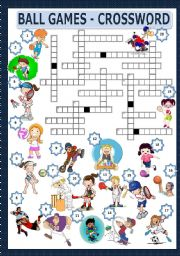 English Worksheet: BALL GAMES - CROSSWORD