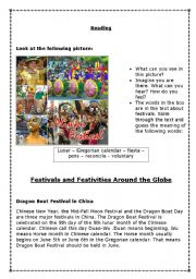English Worksheets: Festivals Around The World - Reading Comprehension
