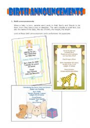 English Worksheets: Birth announcements - reading / writing / creative work