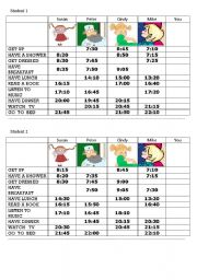 English Worksheets: What time do you...? - practice telling time and daily activities