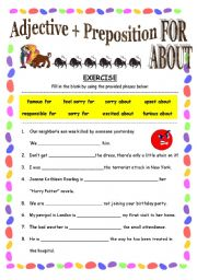 exercise for practising adjective preposition for about with answer key esl worksheet by. Black Bedroom Furniture Sets. Home Design Ideas