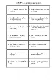 English Worksheet: Garfield�s tenses game - game cards