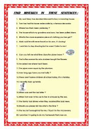 English Worksheets: Find the mistakes ( PET review )
