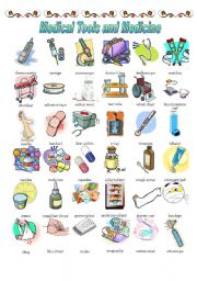 English Worksheets: MEDICAL TOOLS AND MEDICINE (1/2)