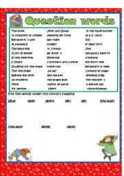 English Worksheet: question words with answer key