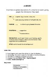 English Worksheet: FCE-How to write a report