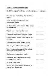 English Worksheets: types of sentences