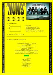 English Worksheet: Linkin Park �numb�