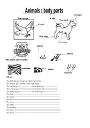 Animals Body Parts Printable Worksheet Design O The Times Picture