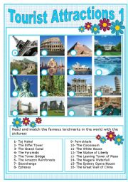 English Worksheet: TOURIST ATTRACTIONS 1