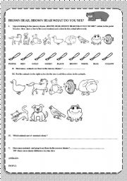 English Worksheet: Brown bear, brown bear what do you see, a nursery rhyme