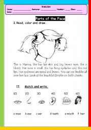 English Worksheet: parts of face