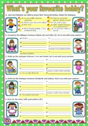English Worksheet: What�s your favourite hobby?  -  Short dialogues to act out.