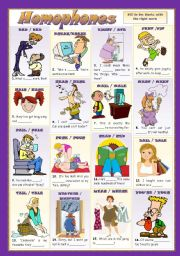 English Worksheet: HOMOPHONES