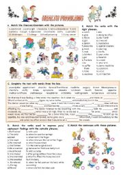 English Worksheet: HEALTH PROBLEMS (KEY INCLUDED)