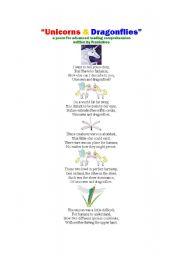 English Worksheets: Unicorns and Dragonflies