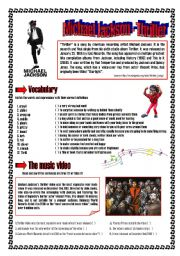English Worksheets: Thriller - Michael Jackson
