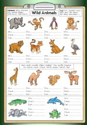 English Worksheet: Wild Animals - Reading, writing & general knowledge