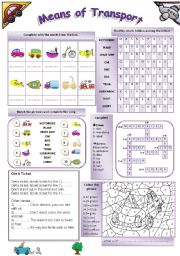 English Worksheet: Means Of Transport (b/w version included) fully editable