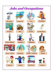 English Worksheet: Jobs and Occupations - Pictionary and Activities