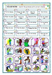 Housework matching activity - 20 chores