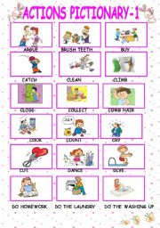English Worksheets: actions pictionary-part1