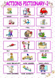 English Worksheet: actions pictionary-part2