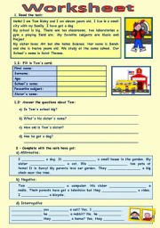 English Worksheet: Tom