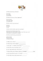 English Worksheets: Toy Story 3- Quiz