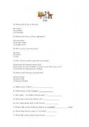 English Worksheet: Toy Story 3- Quiz