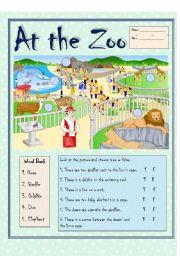 English Worksheets: At the Zoo (b/w version)