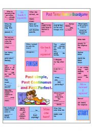 English Worksheet: Past simple,past continuous and past perfect board game(27.07.2010)