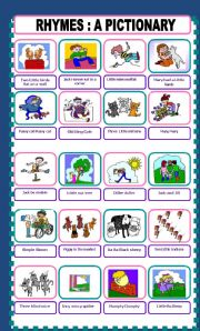 English Worksheet:  RHYMES Picture and Rhyme Identification.