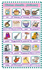 English Worksheet: Kitchen utensils - pictionary