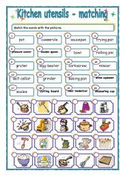 Kitchen utensils - matching - ESL worksheet by piszke