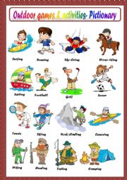 English Worksheets: OUTDOOR GAMES AND ACTIVITIES - PICTIONARY