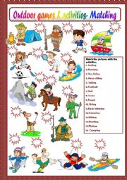 English Worksheets: OUTDOOR GAMES AND ACTIVITIES - MATCHING
