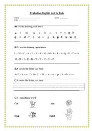evaluation english test for kids