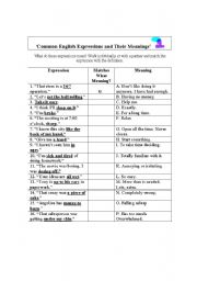English Worksheets: 16 Common English Expressions - A Matching Exercise and Answer Key