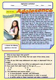 English Worksheets: Adolesence