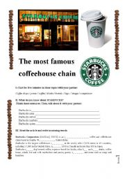 English Worksheets: STARBUCKS text-based activity (fully editable, answer key included)
