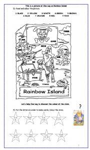 English Worksheet: One Leg on Rainbow Island