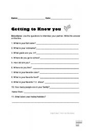 Printables Getting To Know You Worksheet free getting to know you worksheets davezan english teaching school