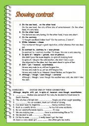 English Worksheets: Showing contrast