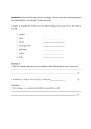 English Worksheets: Second Life Questionnaire