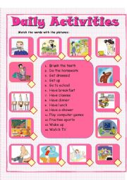 English Worksheets: daily activities - matching