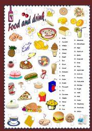 English Worksheet: Food &drink(editable)